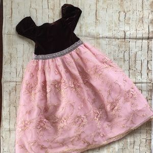 Rare Editions Girl's Brown & Pink Holiday Dress 4